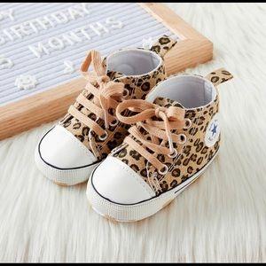 Baby Toddler Leopard Laceup Hightop Prewalker Shoe
